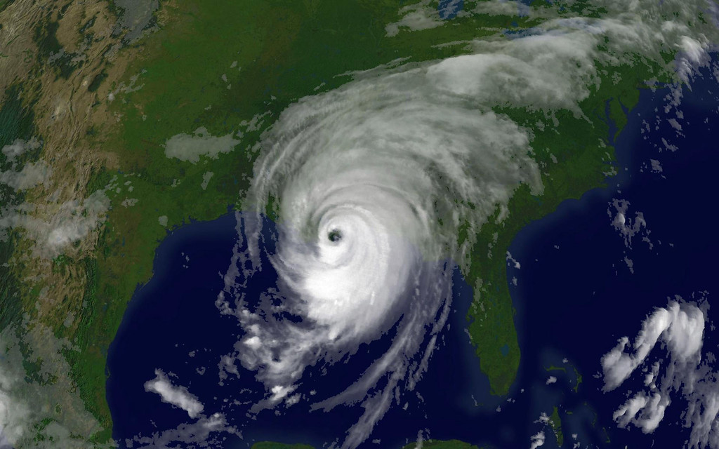 . In this satellite image from NOAA, Hurricane Katrina is seen at 8:15am EST on August 29, 2005 over southeastern Louisiana. Katrina made landfall close to Empire, Louisiana with sustained winds at 140 MPH making it a strong category 4 hurricane.  (Photo by NOAA via Getty Images)