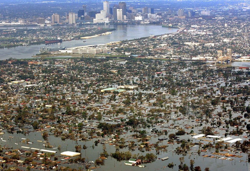 . Floodwaters from Hurricane Katrina cover a portion of New Orleans, Louisiana Tuesday, Aug. 30, 2005, a day after Katrina passed through the city. (AP Photo/David J. Phillip)