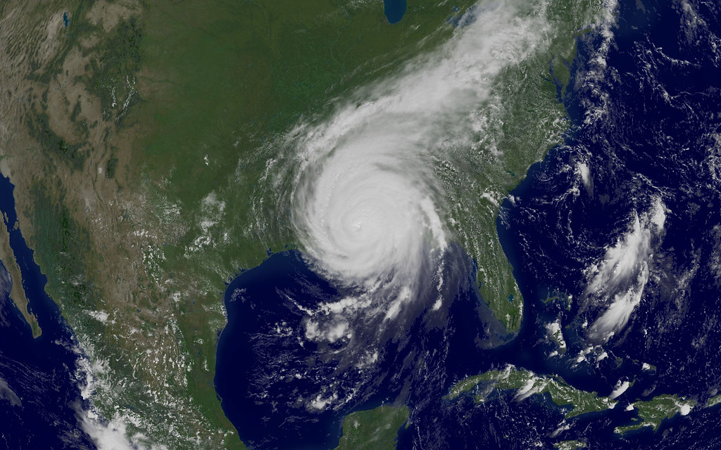 . This NOAA satellite image taken on Monday, Aug. 29, 2005, at 2:02 p.m EDT, shows Hurricane Katrina. (AP Photo/NOAA)
