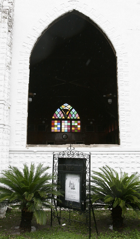 . Several of the stained glass windows of First Free Mission Baptist Church in New Orleans were blown out when Hurricane Katrina brought 140 mph winds and heavy rain to the Crescent City on Monday, Aug. 29, 2005. (AP Photo/Bill Haber)