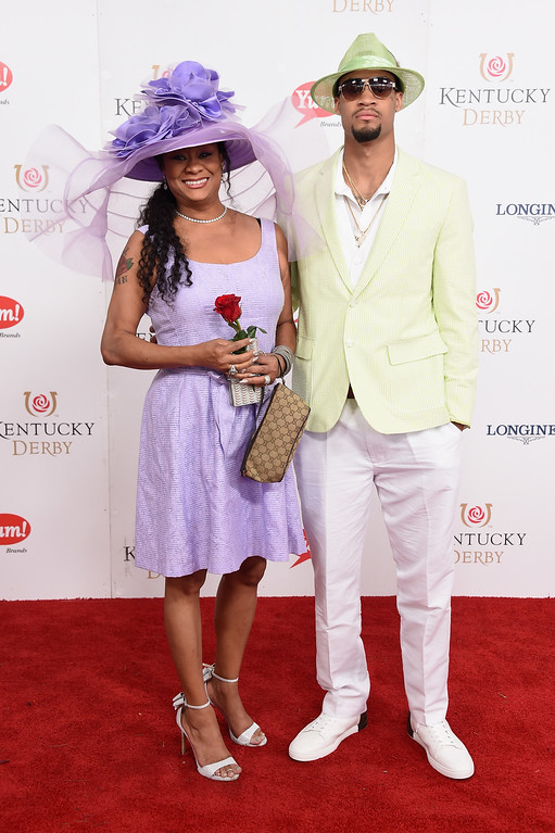 . LOUISVILLE, KY - MAY 06:  K. J. McDaniels (R) attends the 143rd Kentucky Derby at Churchill Downs on May 6, 2017 in Louisville, Kentucky.  (Photo by Michael Loccisano/Getty Images for Churchill Downs)