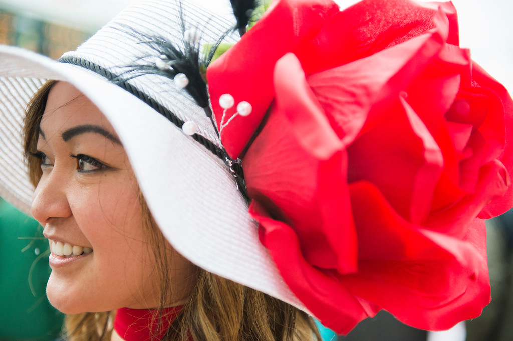. LOUISVILLE, KY - MAY 6: Thur Dao of Cincinnati attends the 143rd Kentucky Derby with a giant rose hat at Churchill Downs on May 6, 2017 in Louisville, Kentucky. (Photo by Michael Noble Jr./Getty Images)