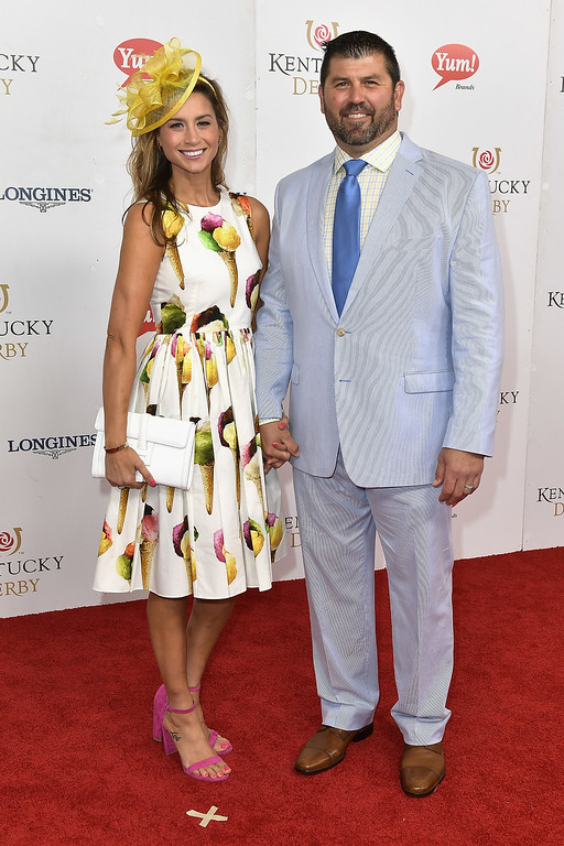 . LOUISVILLE, KY - MAY 06: Catherine Panagiotopoulos and Jason Varitek attend the 143rd Kentucky Derby at Churchill Downs on May 6, 2017 in Louisville, Kentucky.  (Photo by Gustavo Caballero/Getty Images for Churchill Downs)