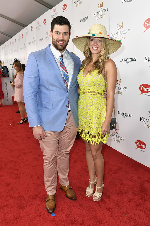 . LOUISVILLE, KY - MAY 06:  Gabe Ikard (L) attends the 143rd Kentucky Derby at Churchill Downs on May 6, 2017 in Louisville, Kentucky.  (Photo by Gustavo Caballero/Getty Images for Churchill Downs)
