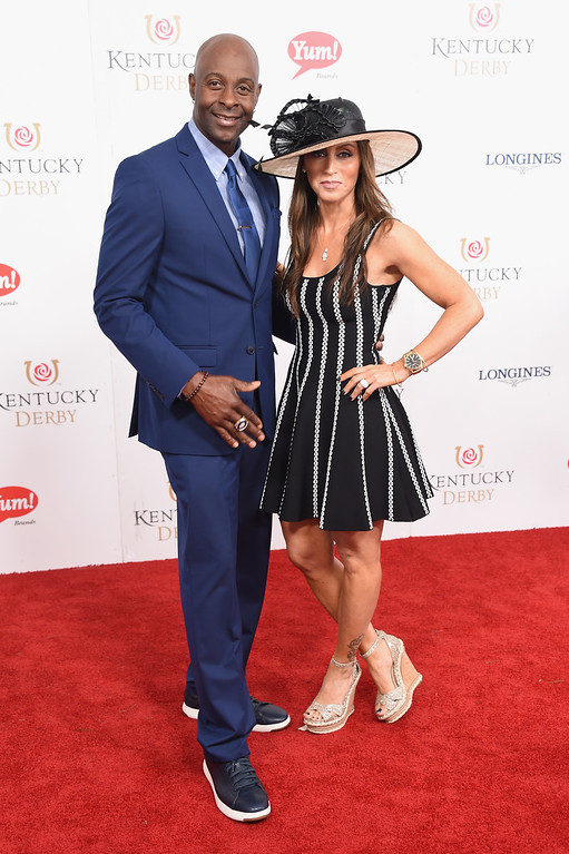 . LOUISVILLE, KY - MAY 06:  Jerry Rice and Colleen Murray attend the 143rd Kentucky Derby at Churchill Downs on May 6, 2017 in Louisville, Kentucky.  (Photo by Michael Loccisano/Getty Images for Churchill Downs)