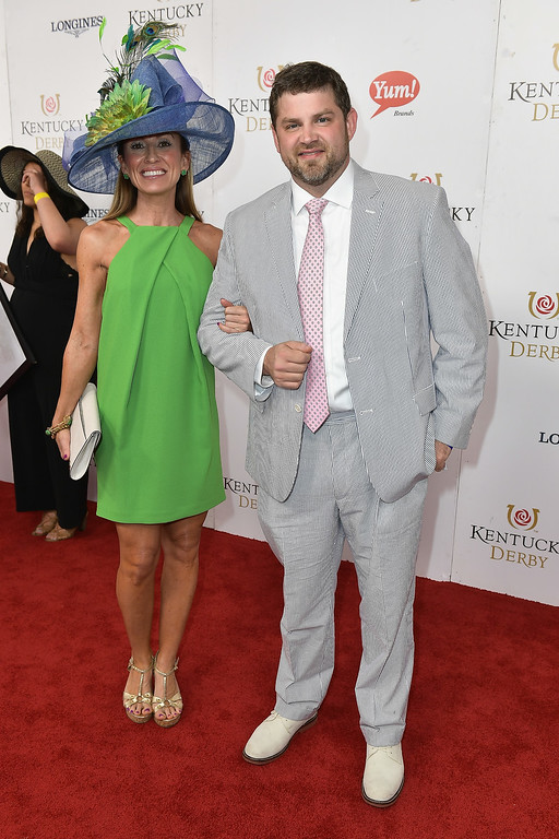. LOUISVILLE, KY - MAY 06: Chef Kelly English (R) attends the 143rd Kentucky Derby at Churchill Downs on May 6, 2017 in Louisville, Kentucky.  (Photo by Gustavo Caballero/Getty Images for Churchill Downs)