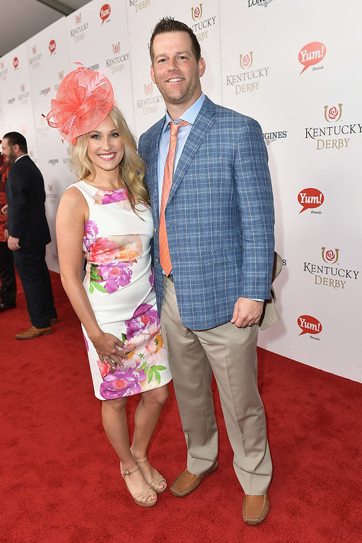 . LOUISVILLE, KY - MAY 06:  NFL player Brian Brohm (R) attends the 143rd Kentucky Derby at Churchill Downs on May 6, 2017 in Louisville, Kentucky.  (Photo by Gustavo Caballero/Getty Images for Churchill Downs)