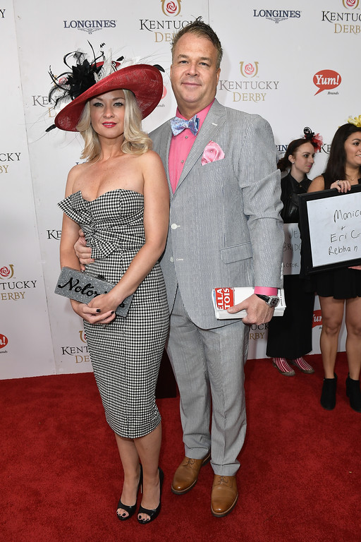 . LOUISVILLE, KY - MAY 06: Monica Rebhan and Eric Rebhan attend the 143rd Kentucky Derby at Churchill Downs on May 6, 2017 in Louisville, Kentucky.  (Photo by Gustavo Caballero/Getty Images for Churchill Downs)