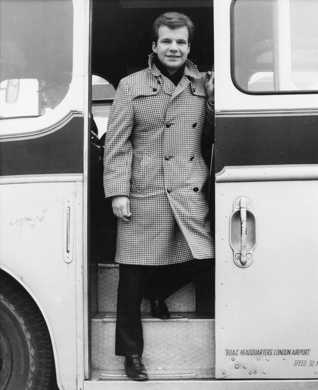 . Portrait of singer Bobby Vee entering a bus at London Airport, February 22nd 1964. Vee, whose rise toward stardom began as a 15-year-old fill-in for Buddy Holly after Holly was killed in a plane crash, died Monday Oct. 24, 2016 of complications from Alzheimer\'s disease. He was 73. (Photo by Central Press/Hulton Archive/Getty Images)