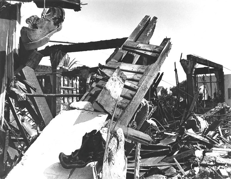 . View of a Shoe Store, burned and destroyed during the rioting in Watts. Store was located at 62nd and Broadway, in Watts. (1965/Los Angeles Public Library)