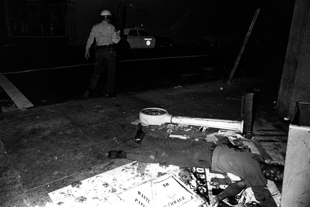 . A victim of the Watts riots in Los Angeles, 11th-15th August 1965. (Photo by Express Newspapers/Getty Images)