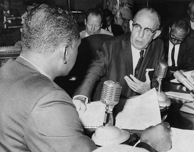 . Los Angeles Police Chief William H. Parker, right, and Councilman Tom Bradley  during a hearing on September 14, 1965,  about the Watts riots.  (Los Angeles Public Library)