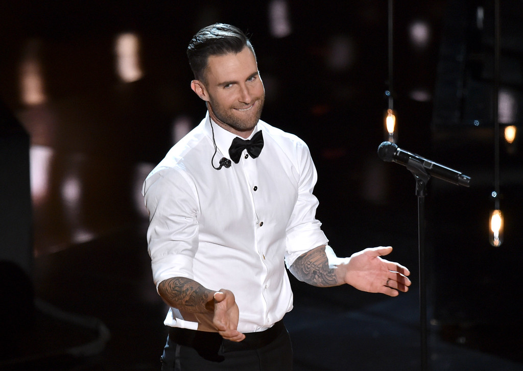 . Adam Levine performs at the Oscars on Sunday, Feb. 22, 2015, at the Dolby Theatre in Los Angeles. (Photo by John Shearer/Invision/AP)