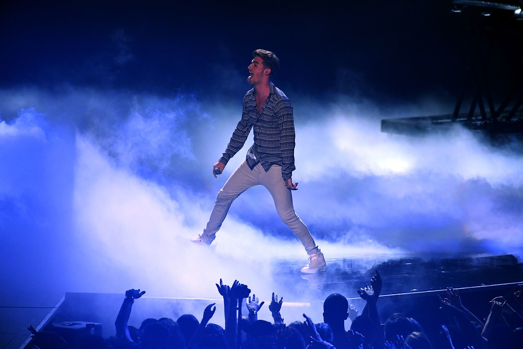 . Andrew Taggart perform on stage during the 2016 MTV Video Music Award at the Madison Square Garden in New York on August 28, 2016. (JEWEL SAMAD/AFP/Getty Images)