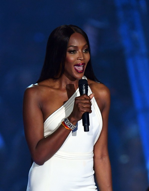 . British model Naomi Campbell announces a performer during the 2016 MTV Video Music Award at the Madison Square Garden in New York on August 28, 2016. (JEWEL SAMAD/AFP/Getty Images)