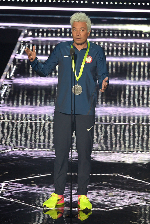 . NEW YORK, NY - AUGUST 28:  Jimmy Fallon speaks onstage at the 2016 MTV Music Video Awards at Madison Square Gareden on August 28, 2016 in New York City.  (Photo by Jason Kempin/Getty Images)