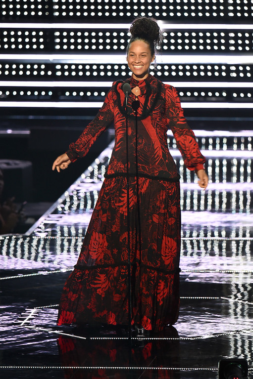 . NEW YORK, NY - AUGUST 28:  Alicia Keys speaks onstage during the 2016 MTV Music Video Awards at Madison Square Gareden on August 28, 2016 in New York City.  (Photo by Michael Loccisano/Getty Images)