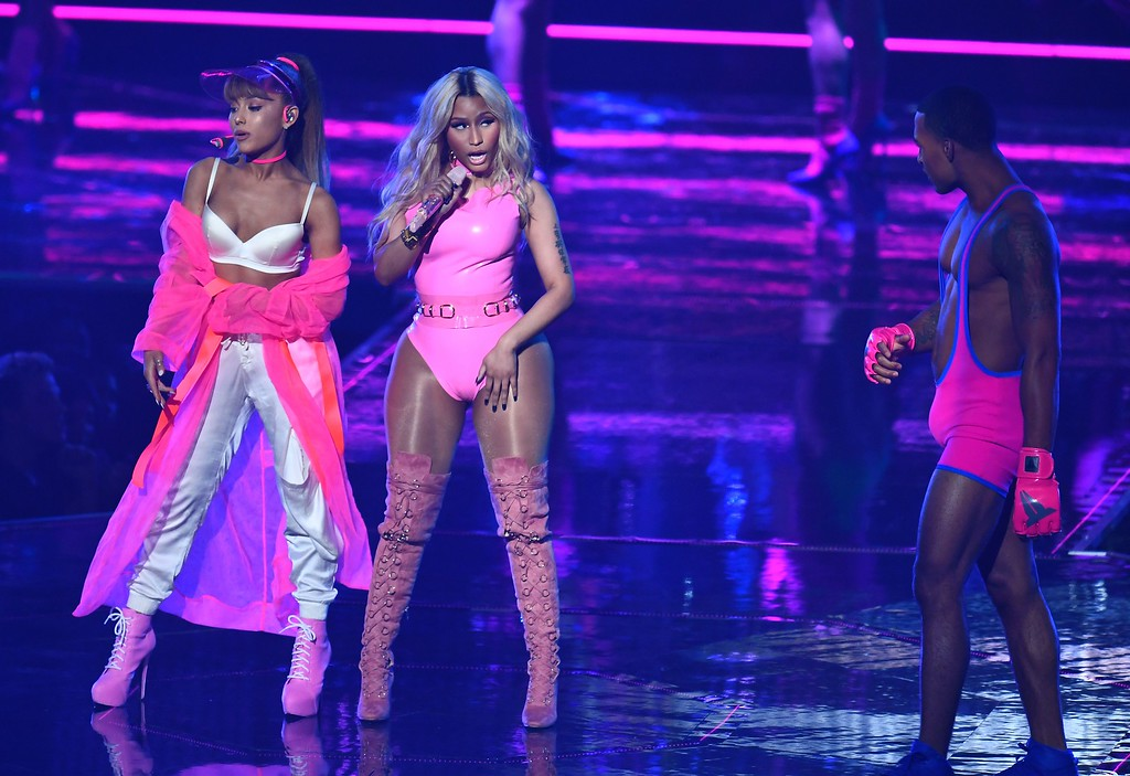 . Ariana Grande and Nicki Minaj perform on stage during the 2016 MTV Video Music Awards on August 28, 2016 at Madison Square Garden in New York. (JEWEL SAMAD/AFP/Getty Images)