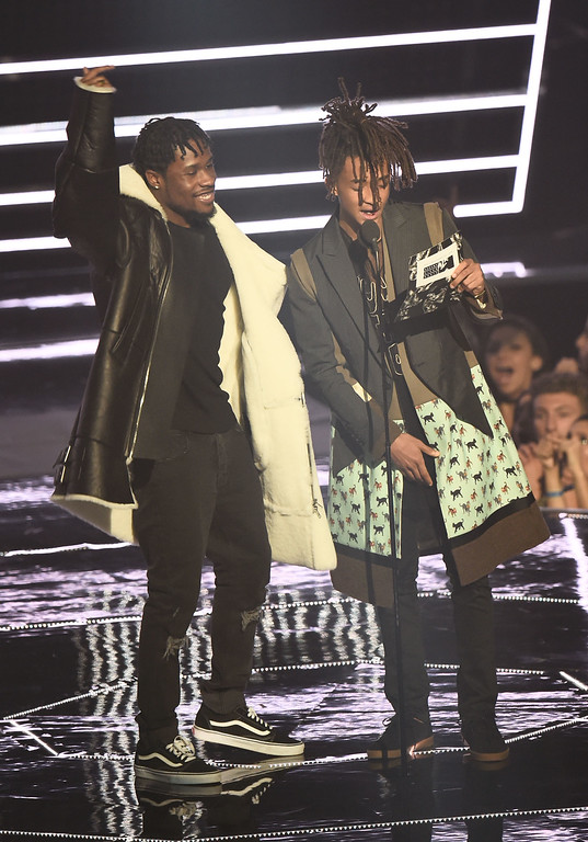 . NEW YORK, NY - AUGUST 28:  Shameik Moore and Jaden Smith performs onstage during the 2016 MTV Video Music Awards at Madison Square Garden on August 28, 2016 in New York City.  (Photo by Michael Loccisano/Getty Images)