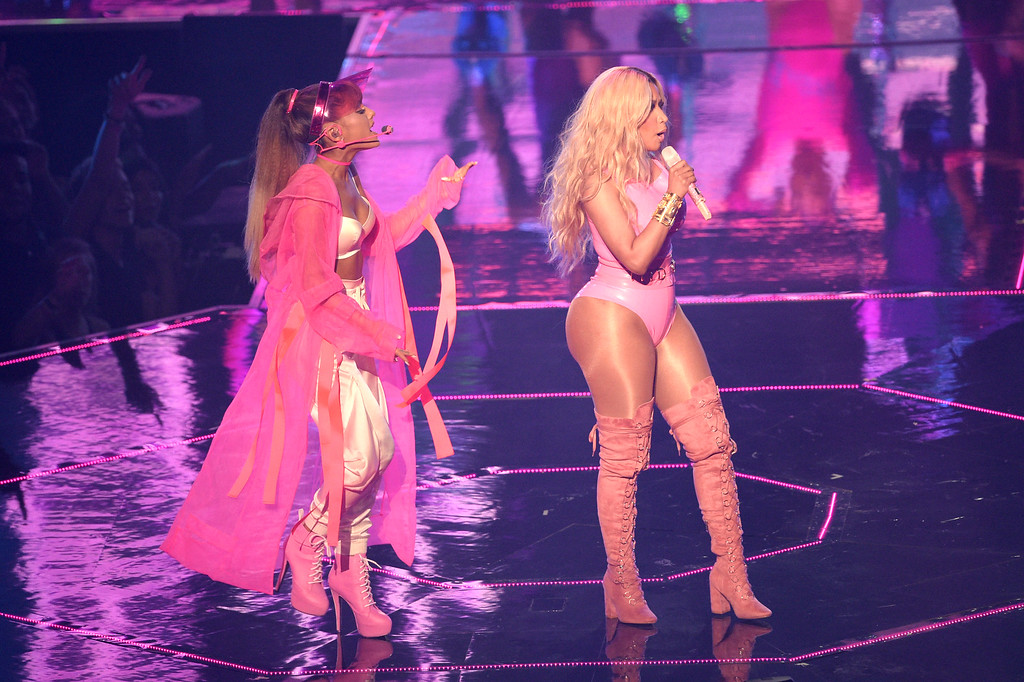 . NEW YORK, NY - AUGUST 28:  NEW YORK, NY - AUGUST Nicki Minaj and Ariana Grande perform onstage during the 2016 MTV Video Music Awards at Madison Square Garden on August 28, 2016 in New York City.  (Photo by Jason Kempin/Getty Images)