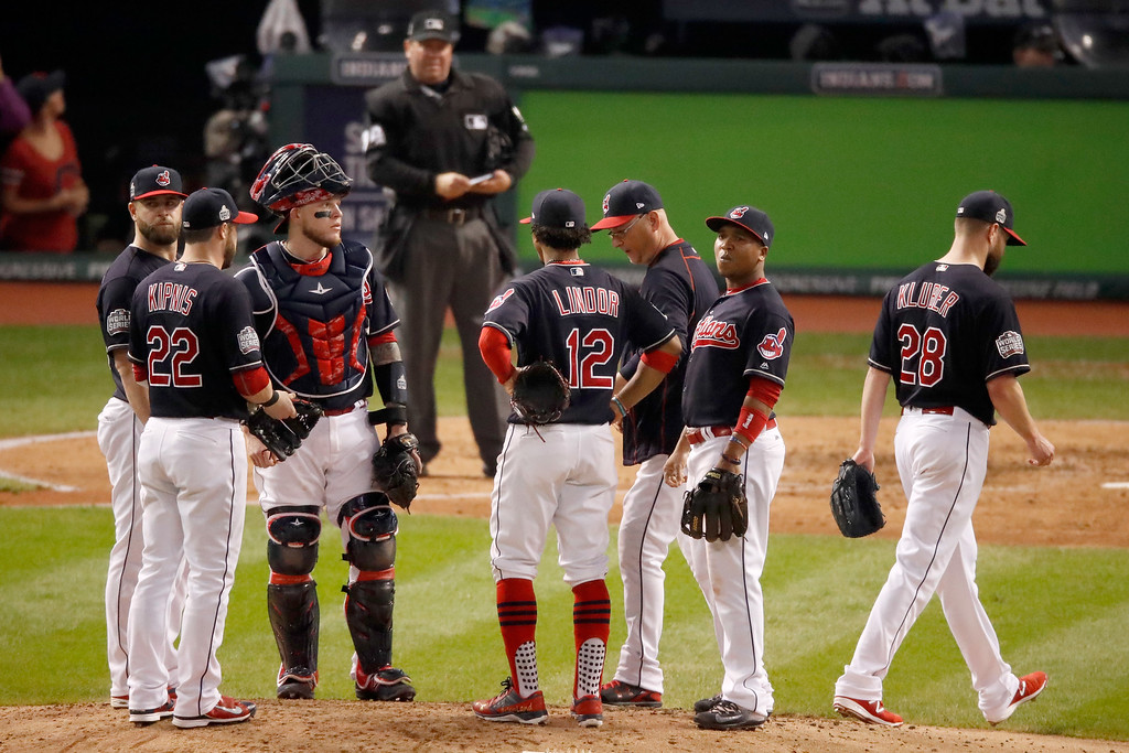 . CLEVELAND, OH - NOVEMBER 02:  Corey Kluber #28 of the Cleveland Indians walks to the dugout after being relieved during the fifth inning against the Chicago Cubs in Game Seven of the 2016 World Series at Progressive Field on November 2, 2016 in Cleveland, Ohio.  (Photo by Gregory Shamus/Getty Images)