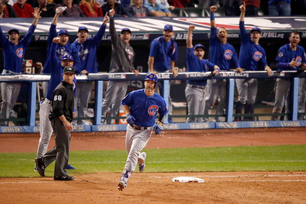 . CLEVELAND, OH - NOVEMBER 02:  David Ross #3 of the Chicago Cubs runs the bases after hitting a solo home run during the sixth inning against the Cleveland Indians in Game Seven of the 2016 World Series at Progressive Field on November 2, 2016 in Cleveland, Ohio.  (Photo by Gregory Shamus/Getty Images)