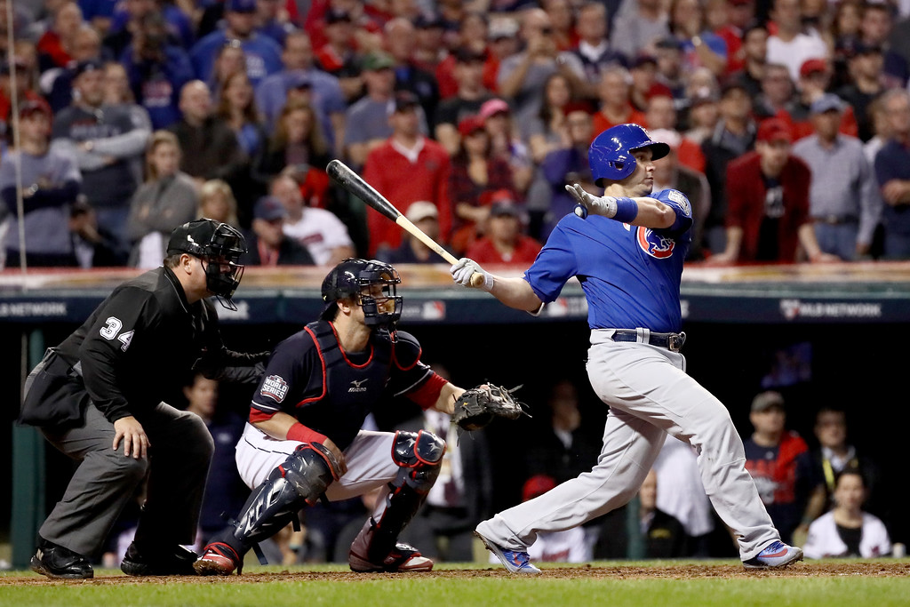 . CLEVELAND, OH - NOVEMBER 02:  Miguel Montero #47 of the Chicago Cubs hits a RBI single in the 10th inning against the Cleveland Indians in Game Seven of the 2016 World Series at Progressive Field on November 2, 2016 in Cleveland, Ohio.  (Photo by Ezra Shaw/Getty Images)