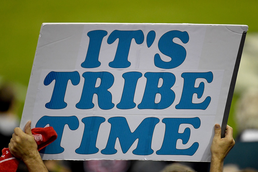 . CLEVELAND, OH - NOVEMBER 02:  A fan holds a sign prior to Game Seven of the 2016 World Series between the Chicago Cubs and the Cleveland Indians at Progressive Field on November 2, 2016 in Cleveland, Ohio.  (Photo by Jason Miller/Getty Images)