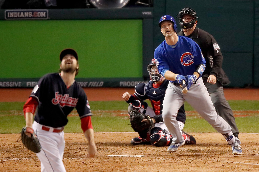 . CLEVELAND, OH - NOVEMBER 02:  David Ross #3 of the Chicago Cubs hits a solo home run during the sixth inning against the Cleveland Indians in Game Seven of the 2016 World Series at Progressive Field on November 2, 2016 in Cleveland, Ohio.  (Photo by Gregory Shamus/Getty Images)