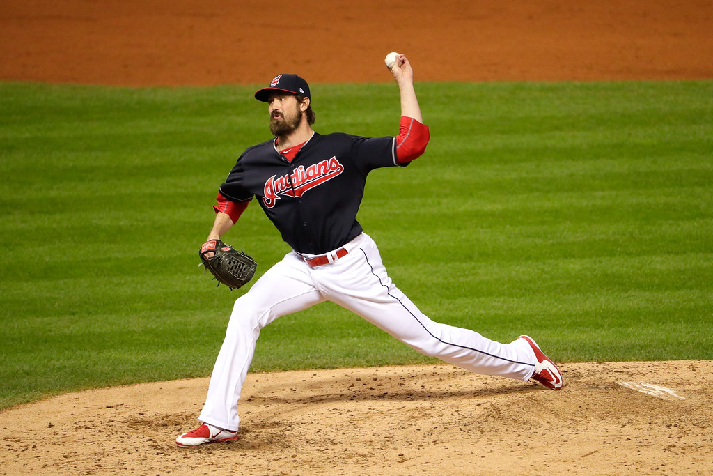 . CLEVELAND, OH - NOVEMBER 02:  Andrew Miller #24 of the Cleveland Indians throws a pitch during the fifth inning against the Chicago Cubs in Game Seven of the 2016 World Series at Progressive Field on November 2, 2016 in Cleveland, Ohio.  (Photo by Jamie Squire/Getty Images)