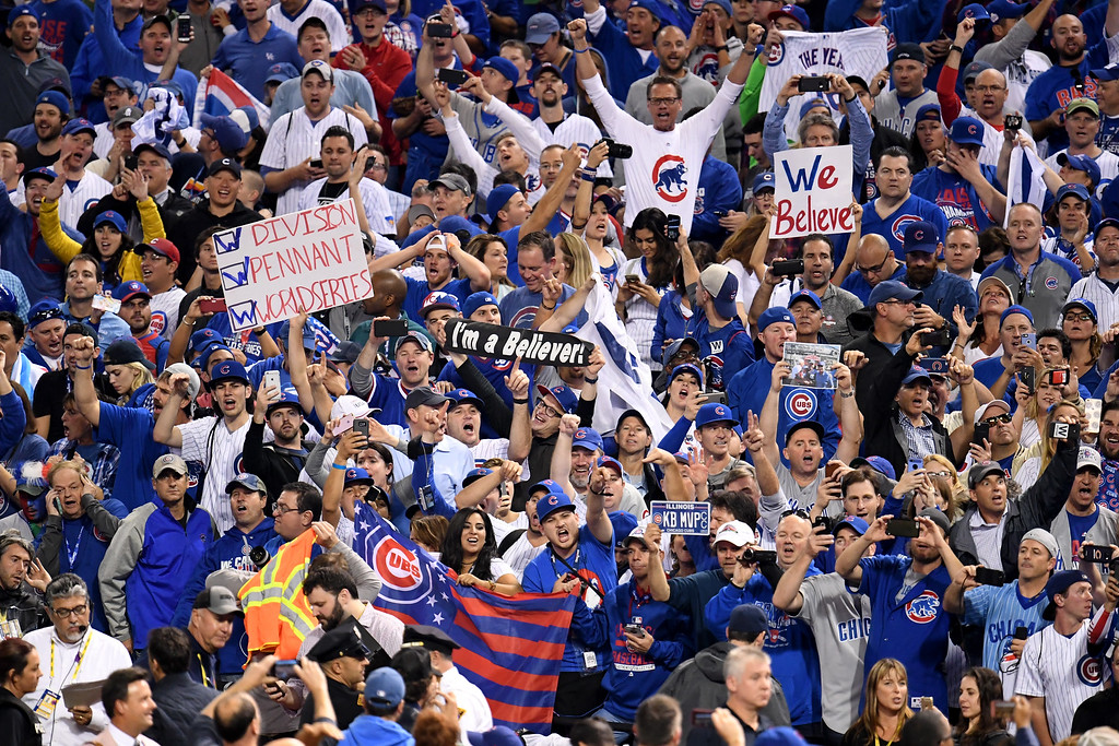. CLEVELAND, OH - NOVEMBER 02:  Chicago Cubs fans celebrate after the Cubs defeated the Cleveland Indians 8-7 in Game Seven of the 2016 World Series at Progressive Field on November 2, 2016 in Cleveland, Ohio. The Cubs win their first World Series in 108 years.  (Photo by Jason Miller/Getty Images)