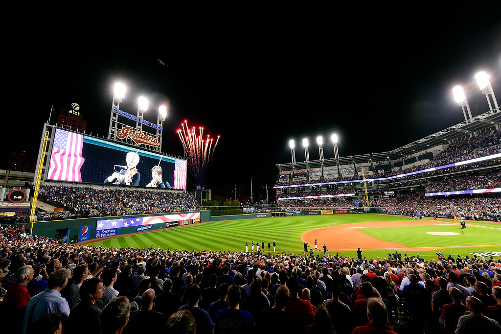 . CLEVELAND, OH - NOVEMBER 02:  A general view during the national anthem before Game Seven of the 2016 World Series between the Chicago Cubs and Cleveland Indians at Progressive Field on November 2, 2016 in Cleveland, Ohio.  (Photo by Jason Miller/Getty Images)