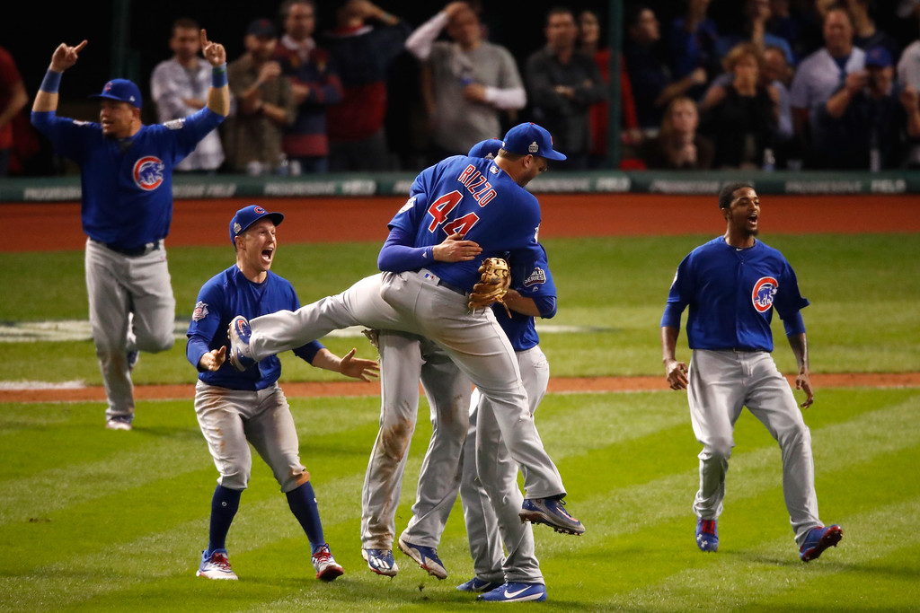 . CLEVELAND, OH - NOVEMBER 02:  The Chicago Cubs celebrate after winning 8-7 in Game Seven of the 2016 World Series at Progressive Field on November 2, 2016 in Cleveland, Ohio.  (Photo by Gregory Shamus/Getty Images)
