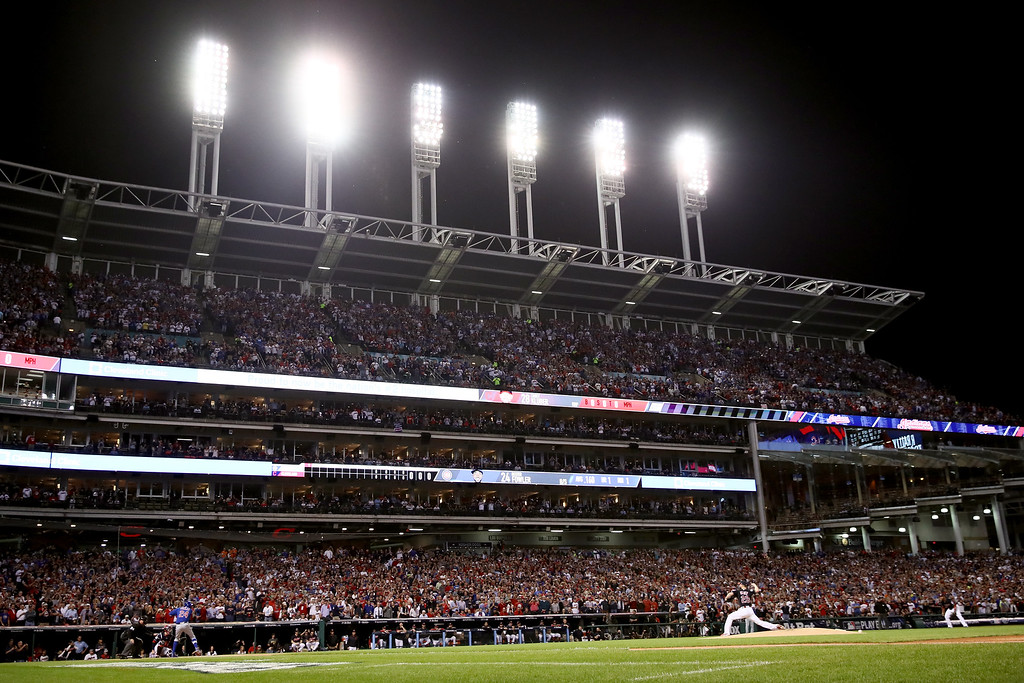 . CLEVELAND, OH - NOVEMBER 02:  Corey Kluber #28 of the Cleveland Indians throws the first pitch in the first inning against the Chicago Cubs in Game Seven of the 2016 World Series at Progressive Field on November 2, 2016 in Cleveland, Ohio.  (Photo by Ezra Shaw/Getty Images)