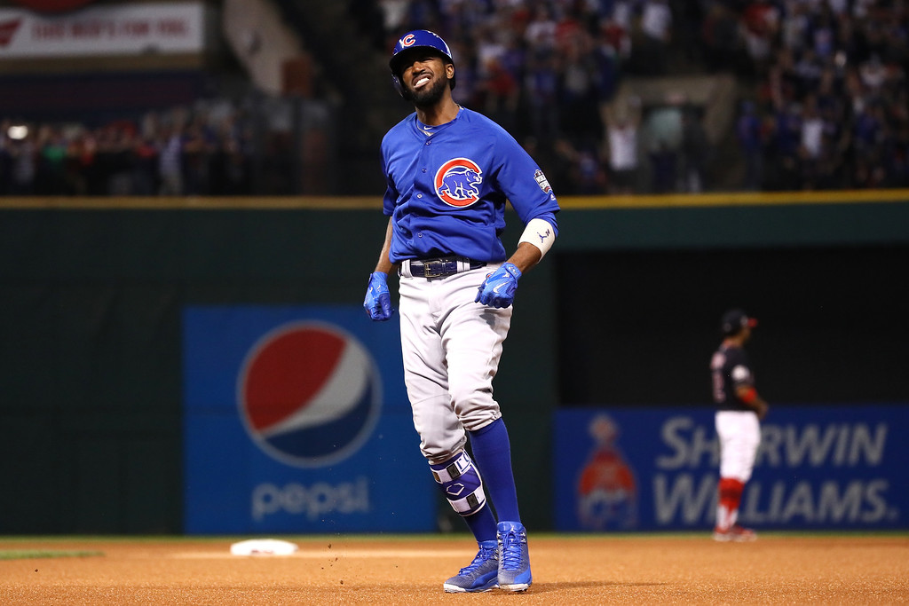 . CLEVELAND, OH - NOVEMBER 02:  Dexter Fowler #24 of the Chicago Cubs celebrates after hitting a lead off home run in the first inning against the Cleveland Indians in Game Seven of the 2016 World Series at Progressive Field on November 2, 2016 in Cleveland, Ohio.  (Photo by Ezra Shaw/Getty Images)