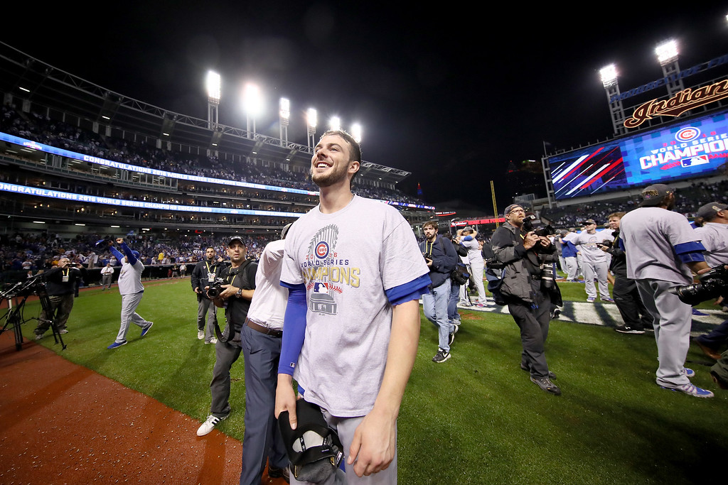 . CLEVELAND, OH - NOVEMBER 02:  Kris Bryant #17 of the Chicago Cubs celebrates after defeating the Cleveland Indians 8-7 in Game Seven of the 2016 World Series at Progressive Field on November 2, 2016 in Cleveland, Ohio. The Cubs win their first World Series in 108 years.  (Photo by Ezra Shaw/Getty Images)