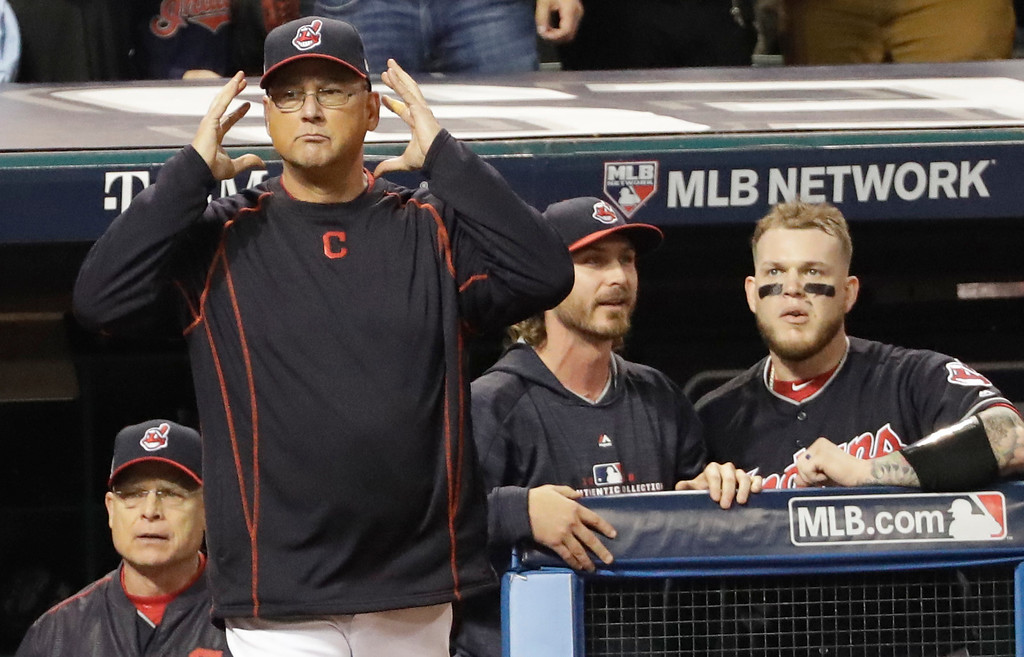 . Cleveland Indians manager Terry Francona requests an instant replay during the third inning of Game 7 of the Major League Baseball World Series against the Chicago Cubs Wednesday, Nov. 2, 2016, in Cleveland. (AP Photo/David J. Phillip)