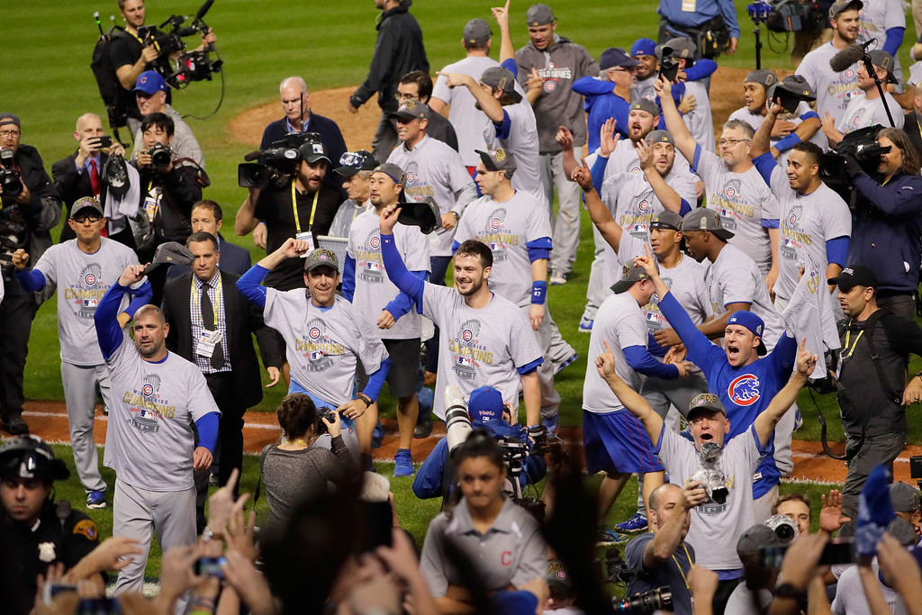 . CLEVELAND, OH - NOVEMBER 02:  The Chicago Cubs celebrate after defeating the Cleveland Indians 8-7 in Game Seven of the 2016 World Series at Progressive Field on November 2, 2016 in Cleveland, Ohio. The Cubs win their first World Series in 108 years.  (Photo by Jamie Squire/Getty Images)