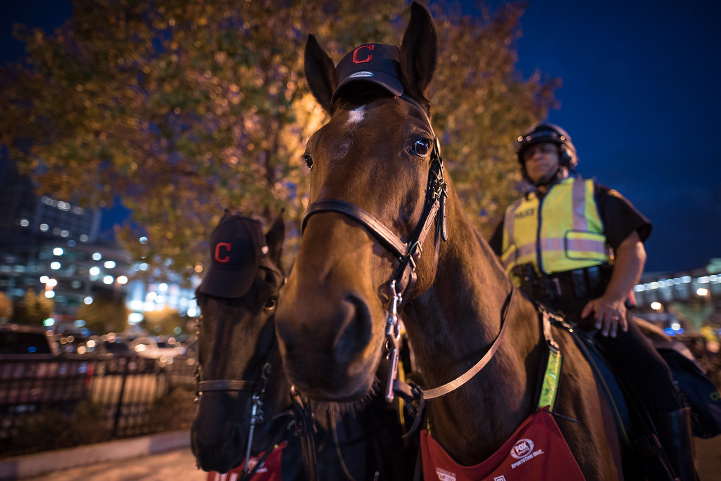 . CLEVELAND, OH - NOVEMBER 02: Cleveland Mounted Police keep watch near Progressive Field before the start of game 7 of the World Series between the Cleveland Indians and the Chicago Cubs on November 2, 2016 in Cleveland, Ohio. This marks the 37th Game 7 in World Series history. (Photo by Justin Merriman/Getty Images)
