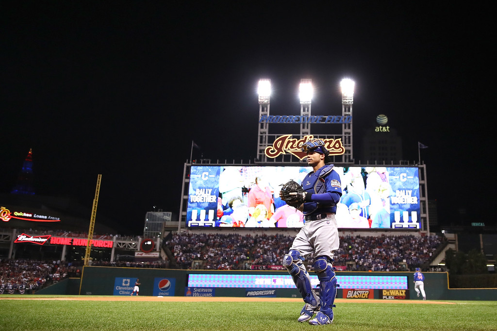 . CLEVELAND, OH - NOVEMBER 02:  Willson Contreras #40 of the Chicago Cubs walks to the dugout before Game Seven of the 2016 World Series against the Cleveland Indians at Progressive Field on November 2, 2016 in Cleveland, Ohio.  (Photo by Ezra Shaw/Getty Images)