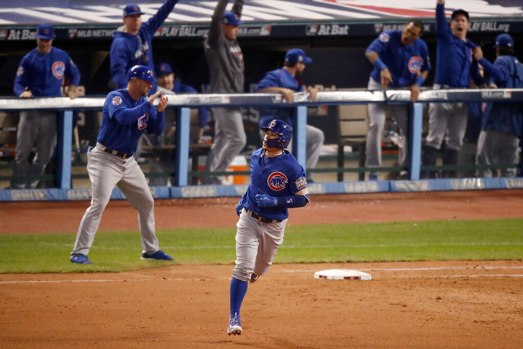 . CLEVELAND, OH - NOVEMBER 02:  Javier Baez #9 of the Chicago Cubs runs the bases after hitting a solo home run during the fifth inning against the Cleveland Indians in Game Seven of the 2016 World Series at Progressive Field on November 2, 2016 in Cleveland, Ohio.  (Photo by Gregory Shamus/Getty Images)