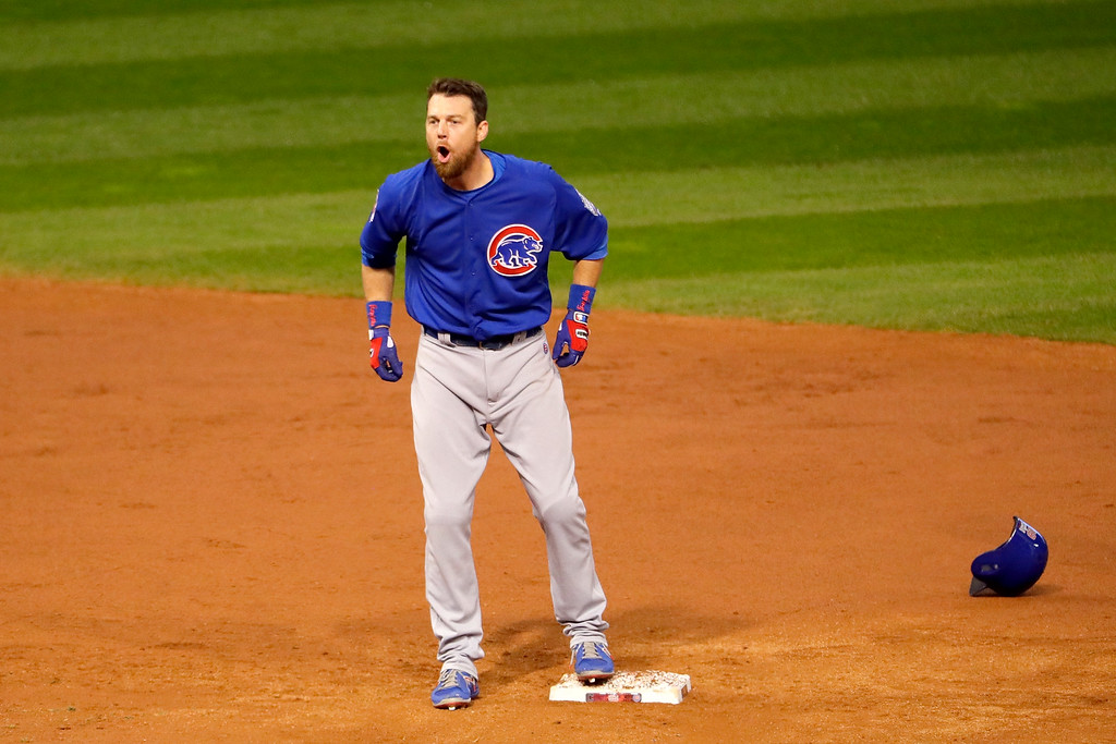 . CLEVELAND, OH - NOVEMBER 02:  Ben Zobrist #18 of the Chicago Cubs celebrates after he hits a RBI double in the 10th inning against the Cleveland Indians in Game Seven of the 2016 World Series at Progressive Field on November 2, 2016 in Cleveland, Ohio.  (Photo by Jamie Squire/Getty Images)