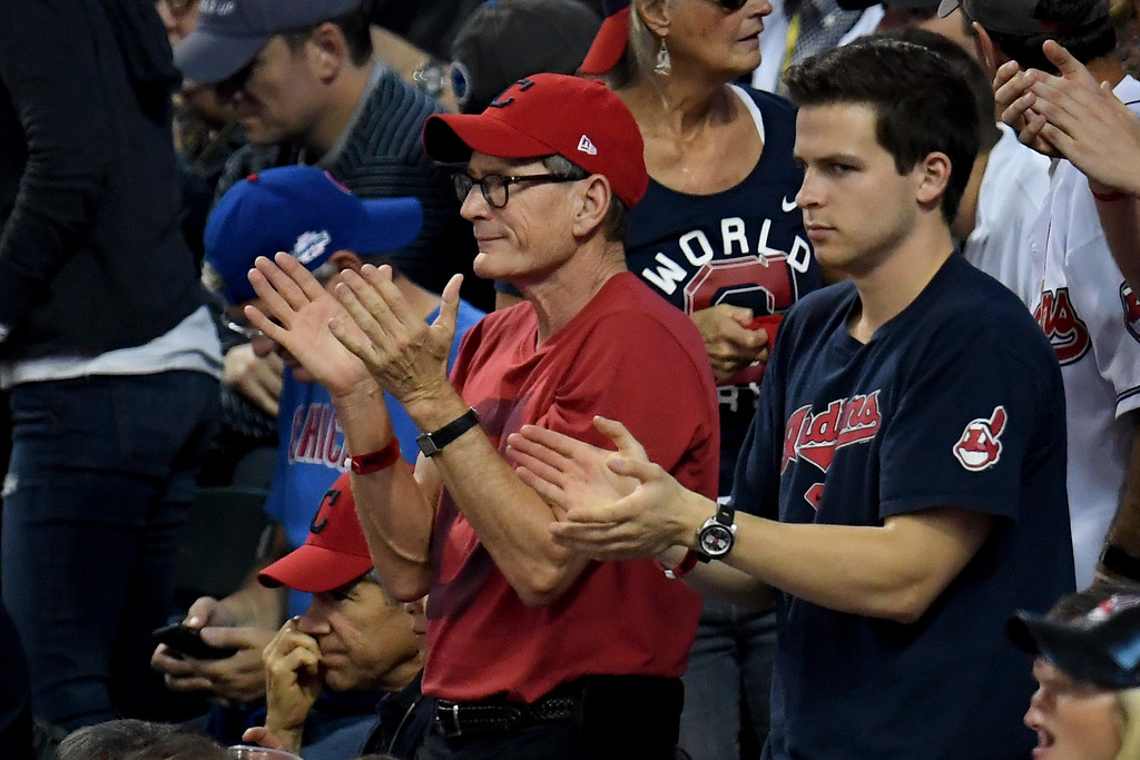 . CLEVELAND, OH - NOVEMBER 02:  Actor Charlie Sheen attends Game Seven of the 2016 World Series between the Chicago Cubs and the Cleveland Indians at Progressive Field on November 2, 2016 in Cleveland, Ohio.  (Photo by Jason Miller/Getty Images)