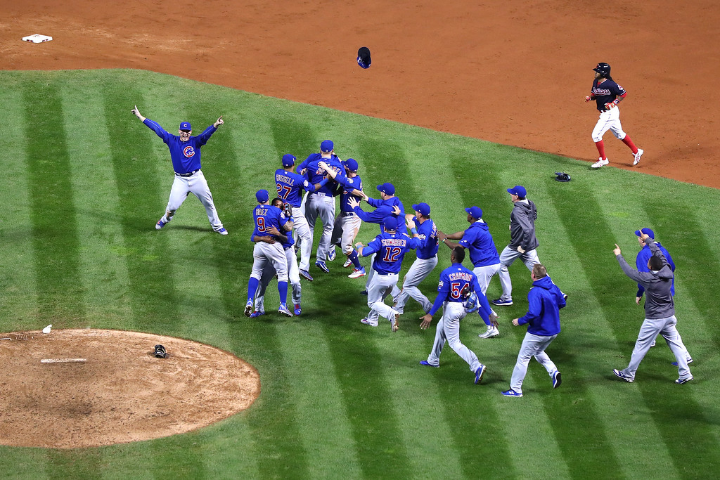 . CLEVELAND, OH - NOVEMBER 02:  The Chicago Cubs celebrate after defeating the Cleveland Indians 8-7 in Game Seven of the 2016 World Series at Progressive Field on November 2, 2016 in Cleveland, Ohio. The Cubs win their first World Series in 108 years.  (Photo by Tim Bradbury/Getty Images)