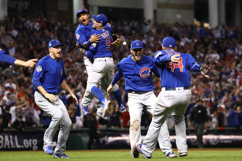 . CLEVELAND, OH - NOVEMBER 02:  The Chicago Cubs celebrate after winning 8-7 in Game Seven of the 2016 World Series at Progressive Field on November 2, 2016 in Cleveland, Ohio.  (Photo by Ezra Shaw/Getty Images)