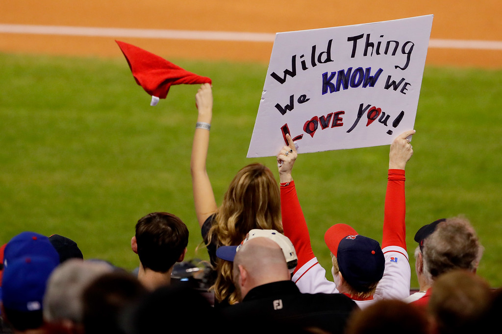 . CLEVELAND, OH - NOVEMBER 02:  Cleveland Indians fans hold up signs prior to Game Seven of the 2016 World Series between the Chicago Cubs and the Cleveland Indians at Progressive Field on November 2, 2016 in Cleveland, Ohio.  (Photo by Jamie Squire/Getty Images)