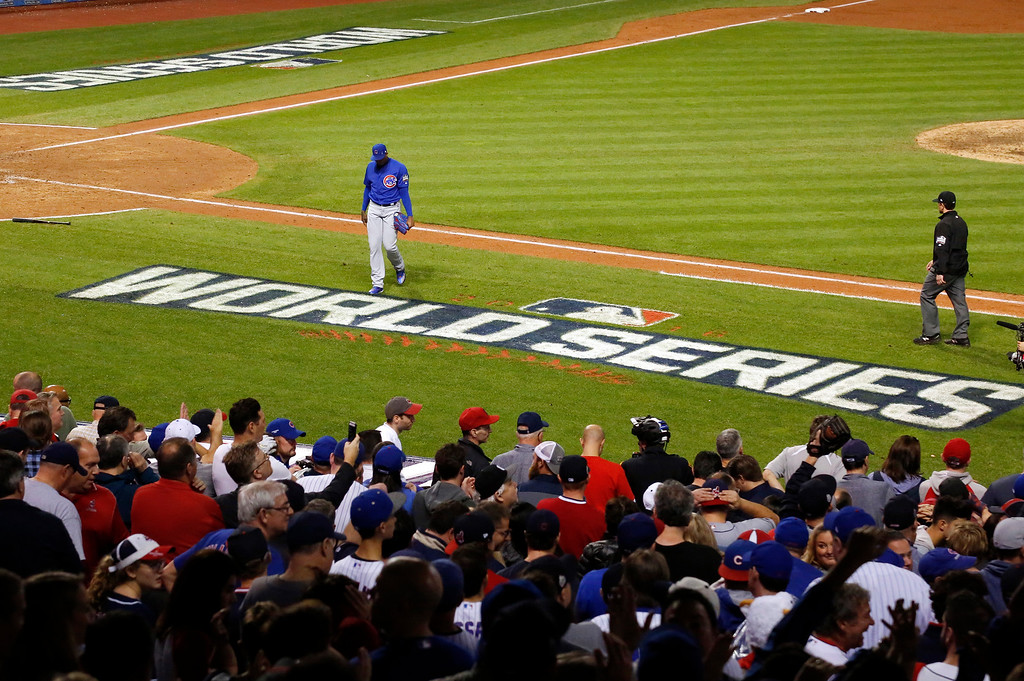 . Chicago Cubs relief pitcher Aroldis Chapman walks to the dugout after the ninth inning of Game 7 of the Major League Baseball World Series against the Cleveland Indians Wednesday, Nov. 2, 2016, in Cleveland. (AP Photo/Gene J. Puskar)