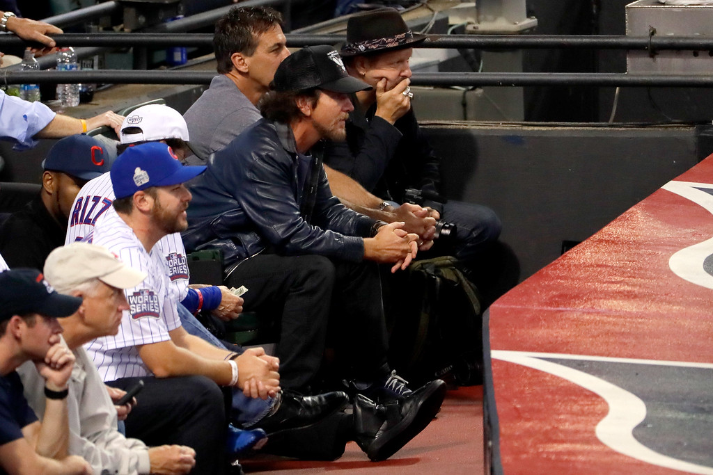 . CLEVELAND, OH - NOVEMBER 02:  Musician Eddie Vedder attends Game Seven of the 2016 World Series between the Chicago Cubs and the Cleveland Indians at Progressive Field on November 2, 2016 in Cleveland, Ohio.  (Photo by Jamie Squire/Getty Images)