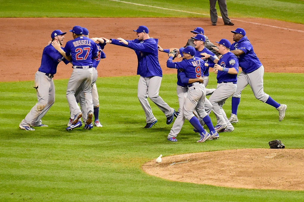 . CLEVELAND, OH - NOVEMBER 02:  The Chicago Cubs celebrate after defeating the Cleveland Indians 8-7 in Game Seven of the 2016 World Series at Progressive Field on November 2, 2016 in Cleveland, Ohio. The Cubs win their first World Series in 108 years.  (Photo by Jason Miller/Getty Images)