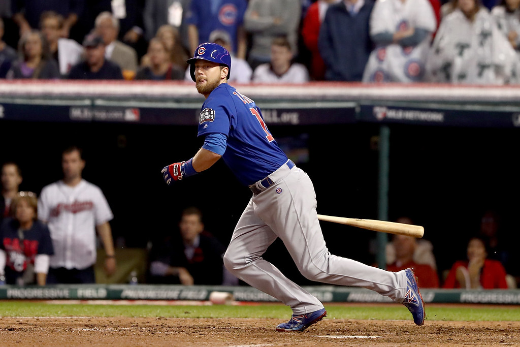 . CLEVELAND, OH - NOVEMBER 02:  Ben Zobrist #18 of the Chicago Cubs hits a RBI double in the 10th inning against the Cleveland Indians in Game Seven of the 2016 World Series at Progressive Field on November 2, 2016 in Cleveland, Ohio.  (Photo by Elsa/Getty Images)